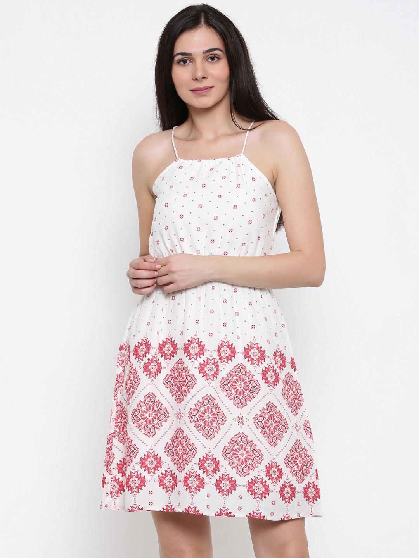 1b87086fae3 Buy Lee Cooper Women Off White Printed Fit & Flare Dress - Dresses ...