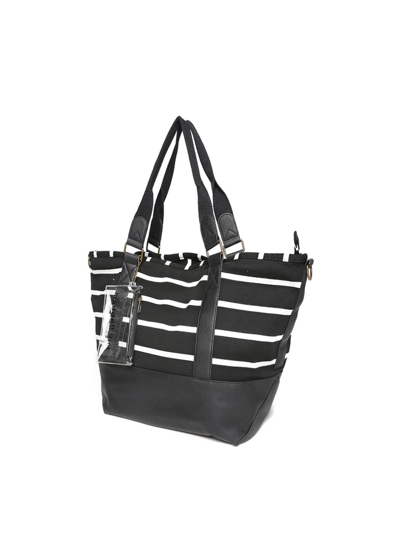 7e2facb158 Buy Steve Madden Black   White Striped Oversized Shoulder Bag With ...