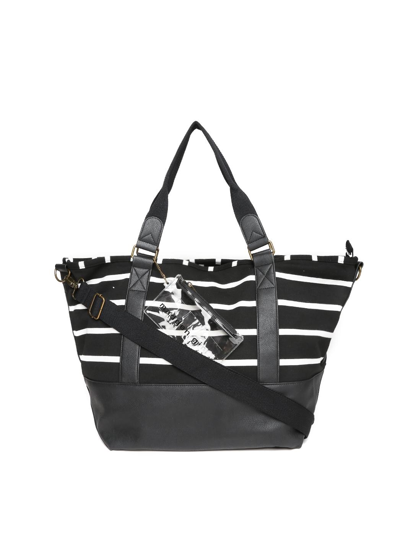 5ed0772777 Steve Madden Black   White Striped Oversized Shoulder Bag with Sling Strap