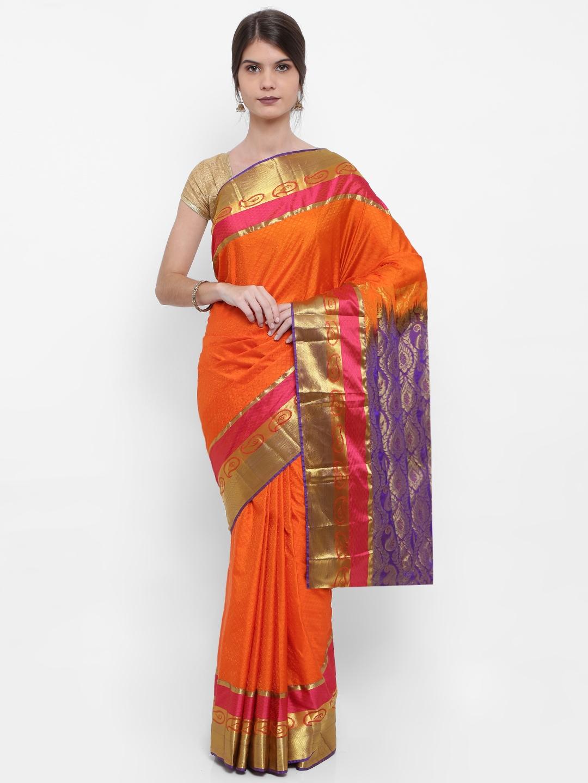 The Chennai Silks Orange Pure Silk Woven Design Kanjeevaram Saree