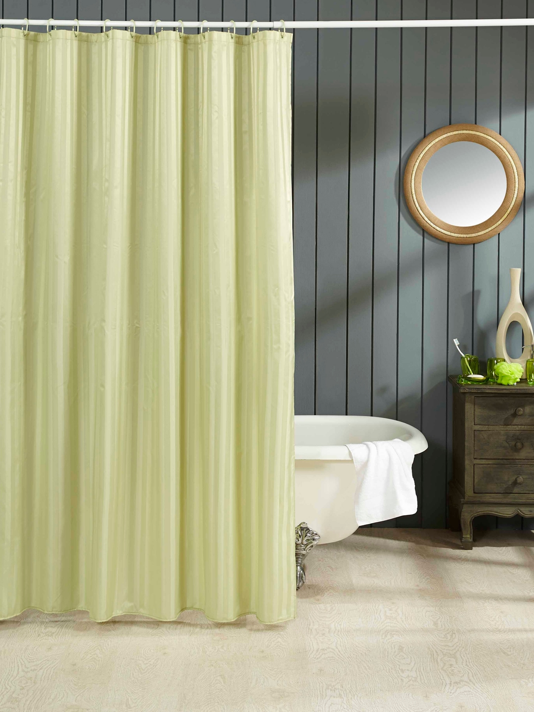 OBSESSIONS Green Self Striped Single Shower Curtain