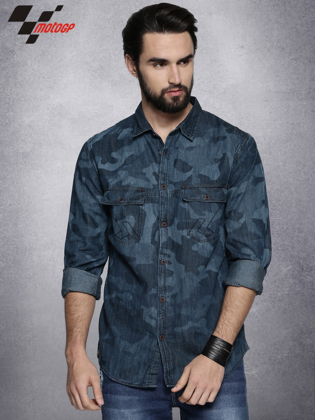 1602e1d474f Buy RDSTR Moto GP Men Blue Slim Fit Printed Denim Shirt - Shirts for ...