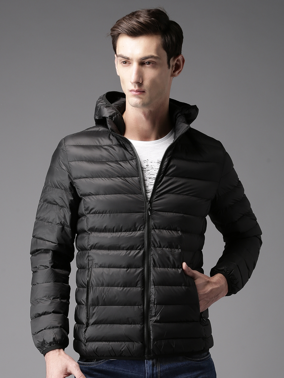 364e6a03 Buy HERE&NOW Men Black Solid Puffer Jacket With Detachable Hood ...