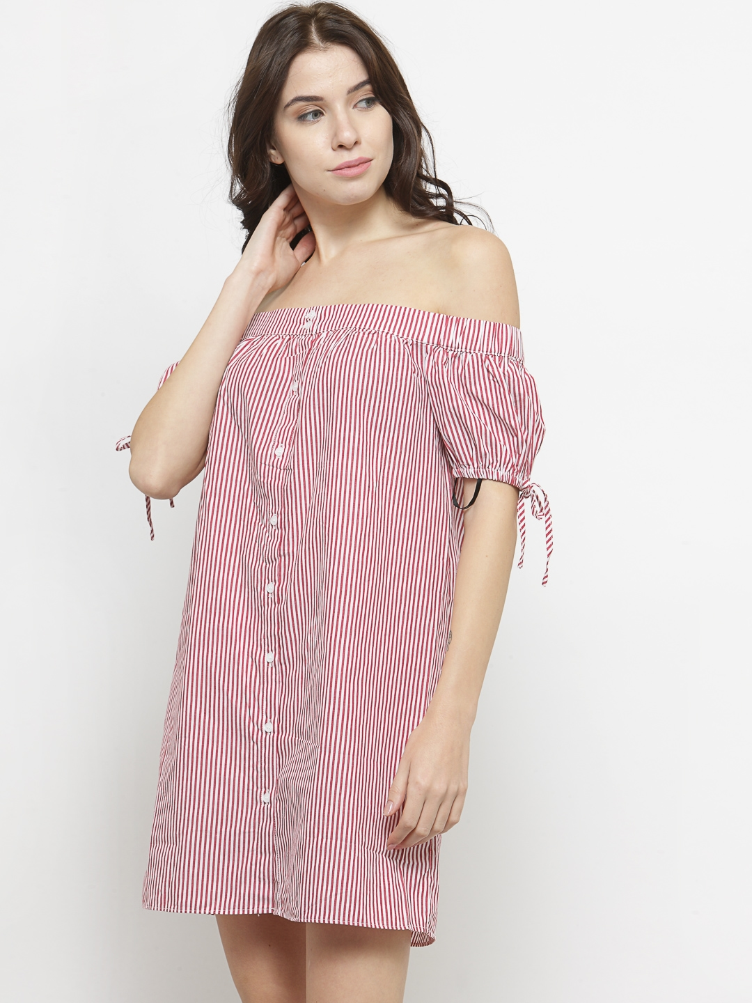 780ef41fa0a0aa Buy FOREVER 21 Women Red   White Striped Off Shoulder Shirt Dress ...