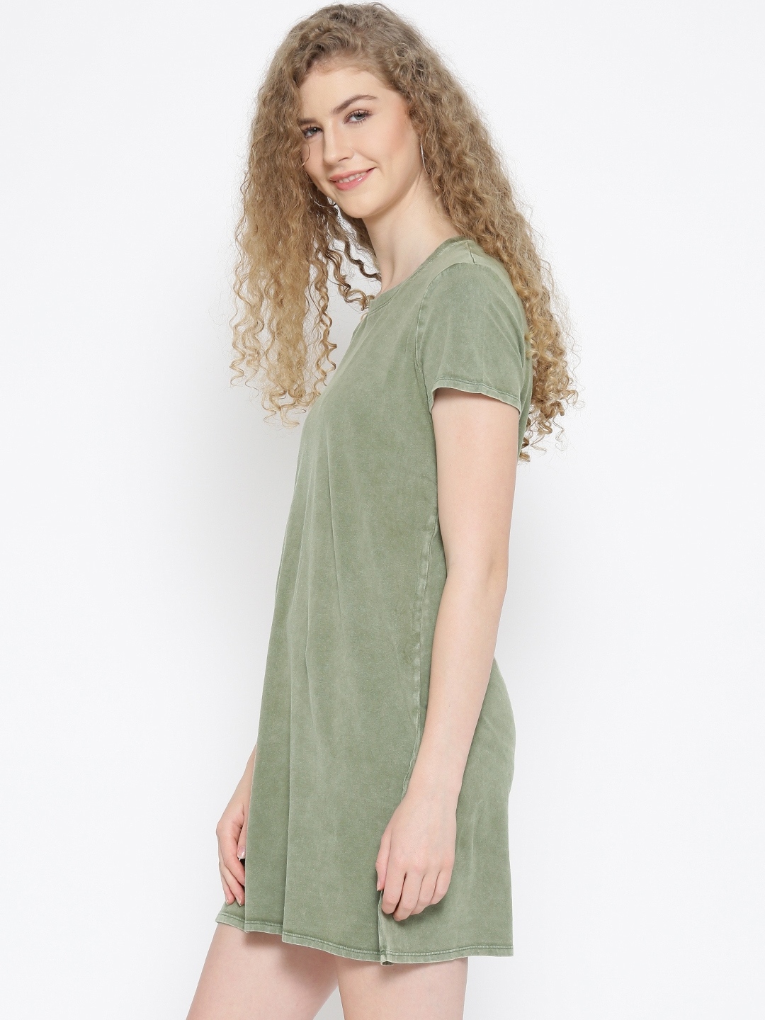1aa78cc68845 Buy FOREVER 21 Women Olive Green Solid T Shirt Dress - Dresses for ...