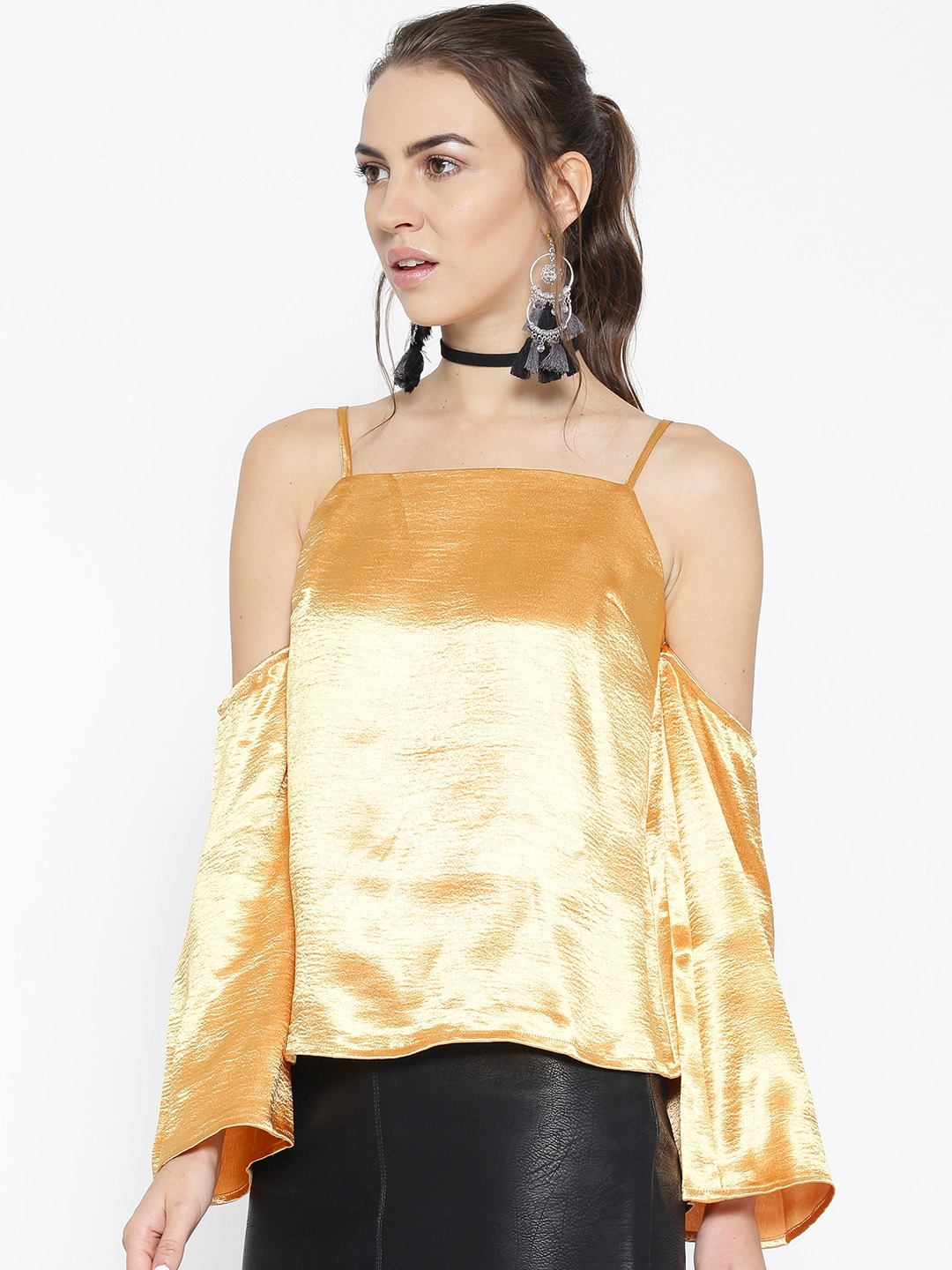 c9909c4ab00 Buy FOREVER 21 Women Mustard Yellow Cold Shoulder Satin Finish Top ...