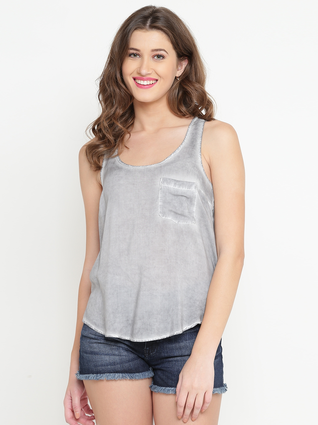 0a345c0b57e39 Buy FOREVER 21 Women Grey Faded Tank Top - Tops for Women 2119619 ...