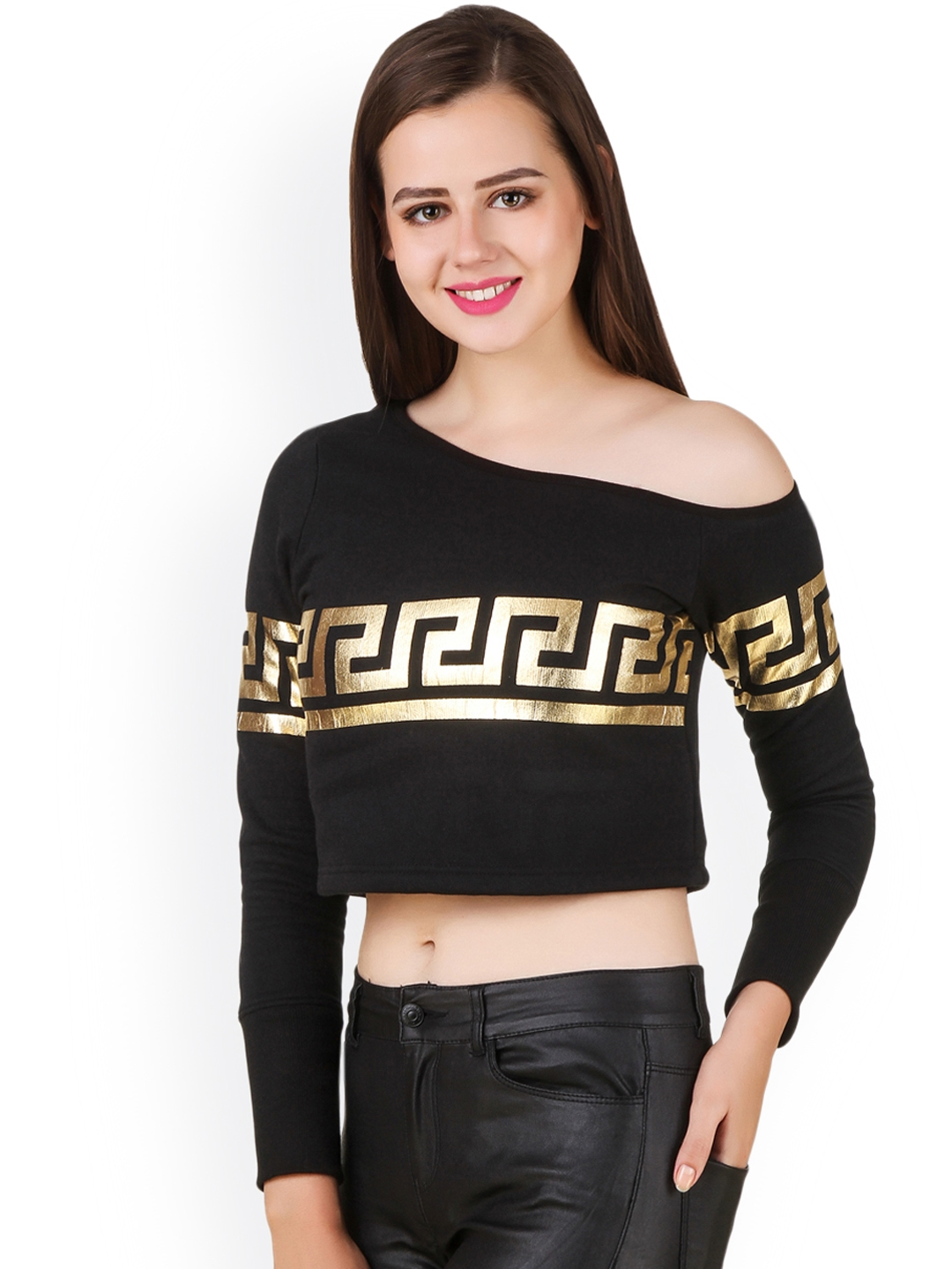 b64e112206a7 Buy Texco Women Black Printed One Shoulder Crop Top - Tops for Women ...