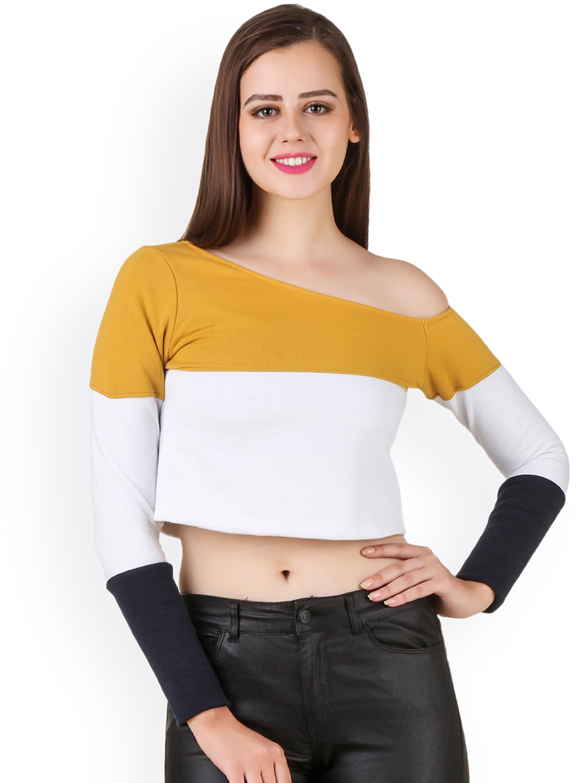 4a06104351d0 Buy Texco Women Mustard Colourblocked One Shoulder Crop Top - Tops ...