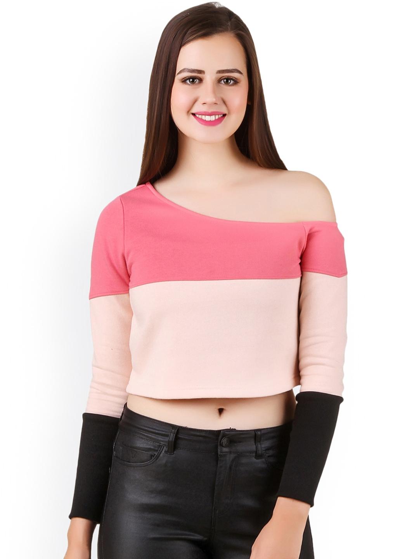 e0126695874e Buy Texco Women Pink Colourblocked One Shoulder Crop Top - Tops for ...