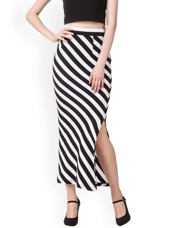 501411020 Buy Texco Navy Black & White Striped Side Slit Maxi Skirt - Skirts ...