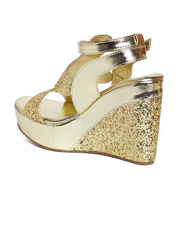 5130b6ba8ba Buy Marc Loire Women Gold Toned Solid Embellished Wedges - Heels for ...