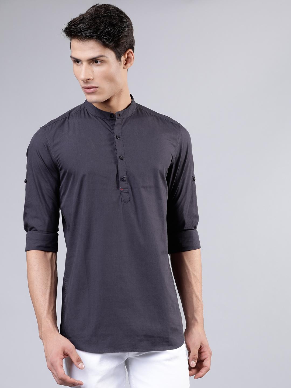 HIGHLANDER Men Charcoal Grey Slim Fit Solid Casual Shirt
