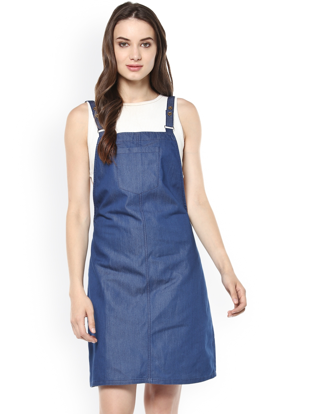 8969d895bade Buy StyleStone Women Blue Solid Pinafore Dress - Dresses for Women ...