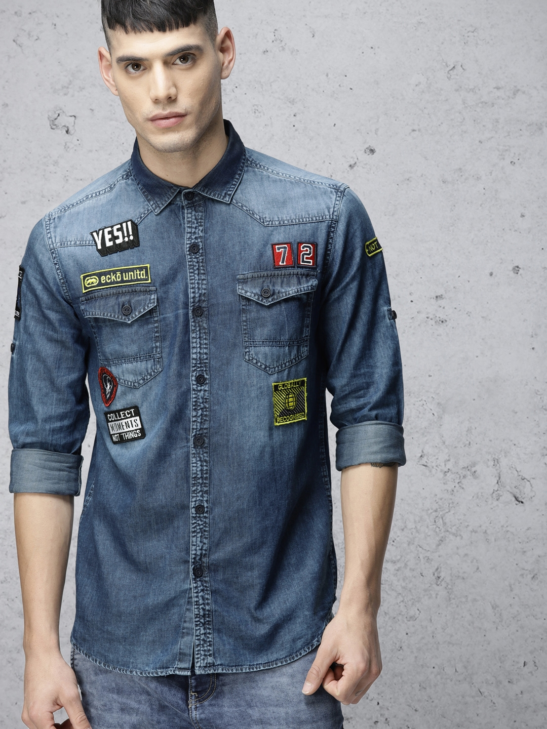 6473255418 Buy Ecko Unltd Men Blue Slim Fit Washed Denim Shirt - Shirts for Men ...