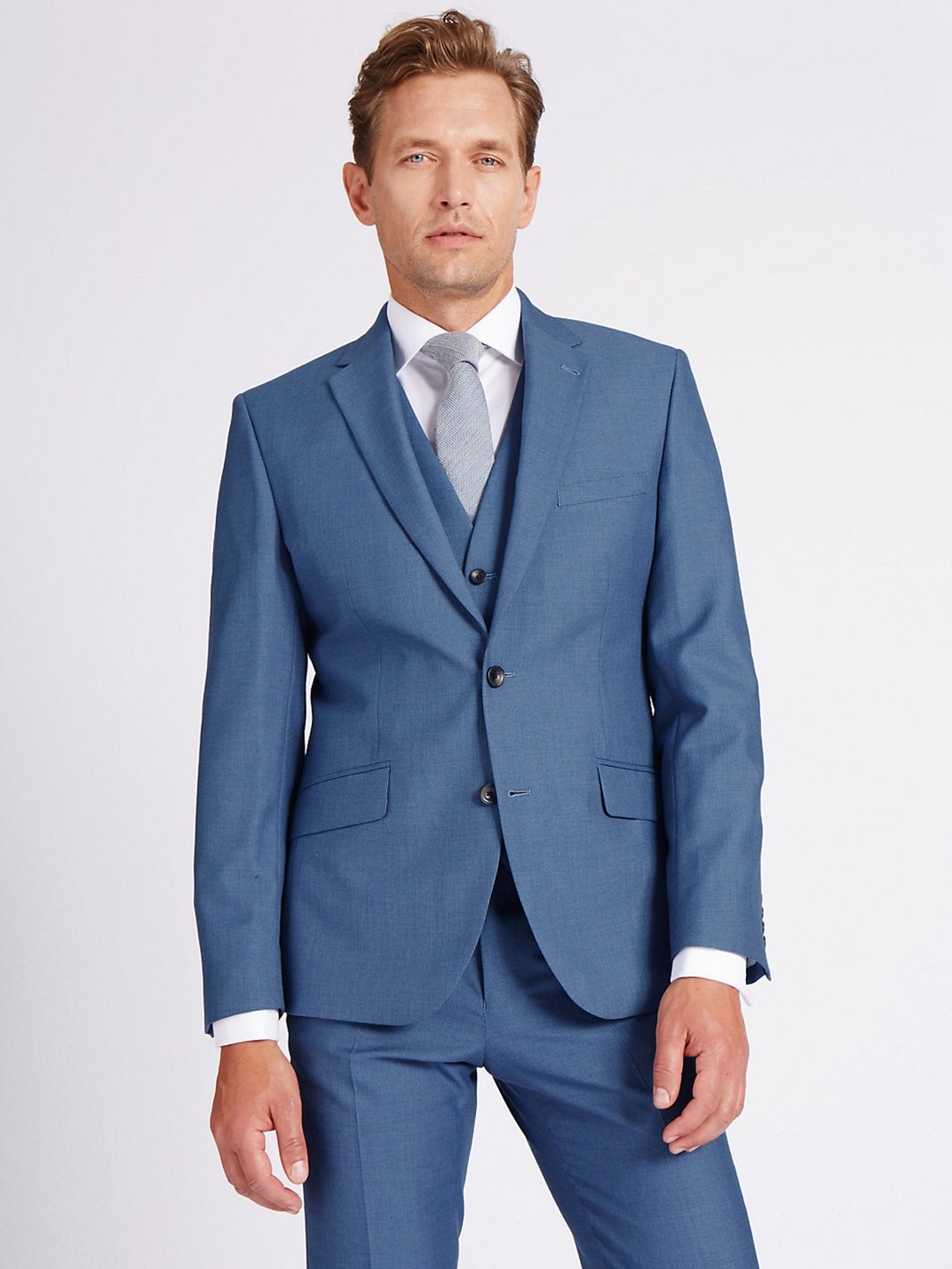 52aac5461452b Buy Marks   Spencer Blue Single Breasted Tailored Fit Blazer ...