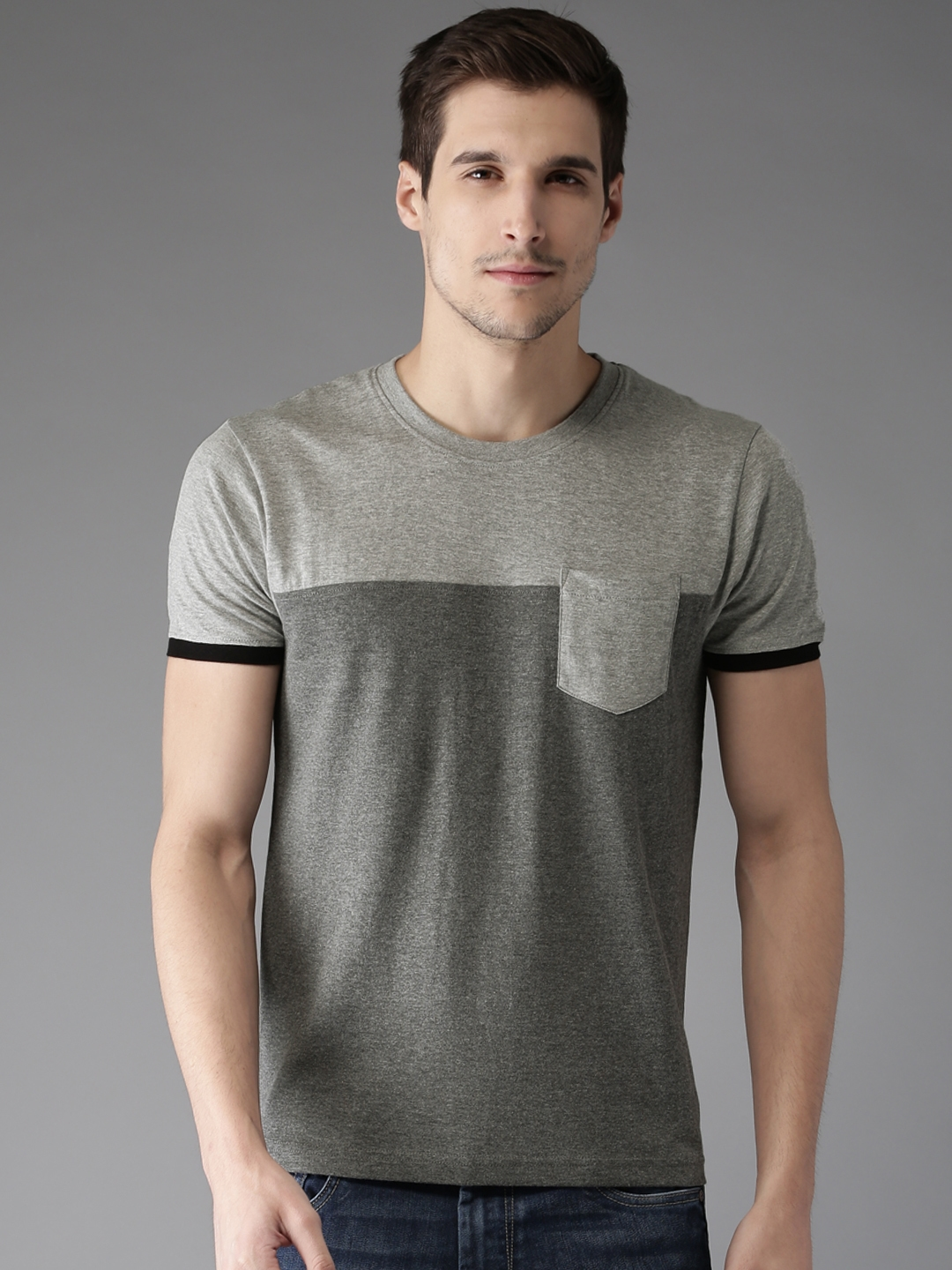 9361b3f57168 Buy Moda Rapido Men Grey Melange Solid Round Neck T Shirt - Tshirts ...