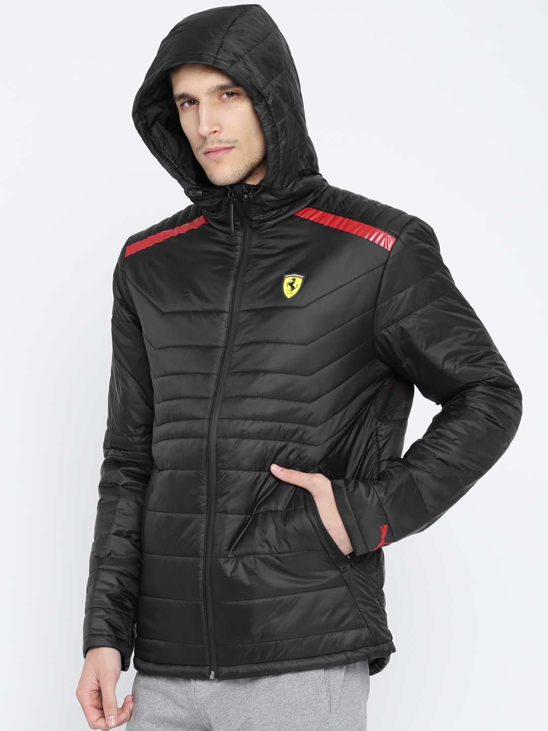 9d4a33a5f6b7 Buy Puma Men Black SF Vent Printed Padded Jacket - Jackets for Men ...