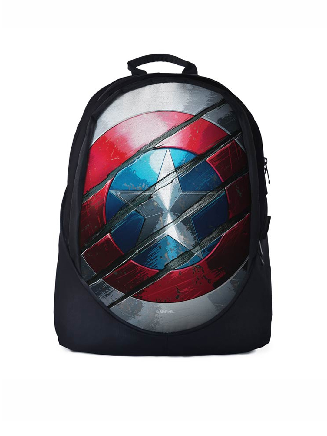 79ffd247d8ce The Souled Store Unisex Black Avengers  Captain America Shield Print  Backpack