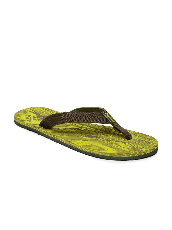819511dc8fb Buy Puma Men Olive Green   Yellow Epic Flip V2 Marble Printed Flip ...