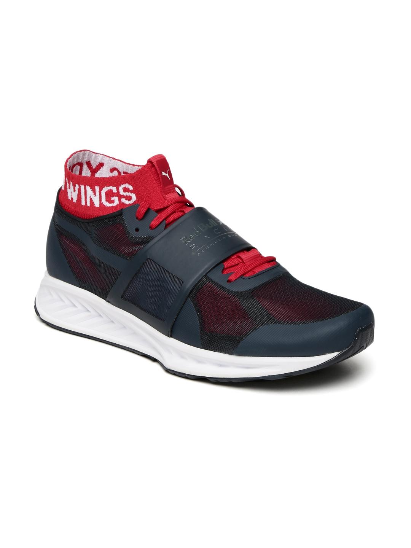 Puma Men Navy Blue Red Bull Racing Mechs Ignite V3 Mid-Top Sneakers dd4c53060