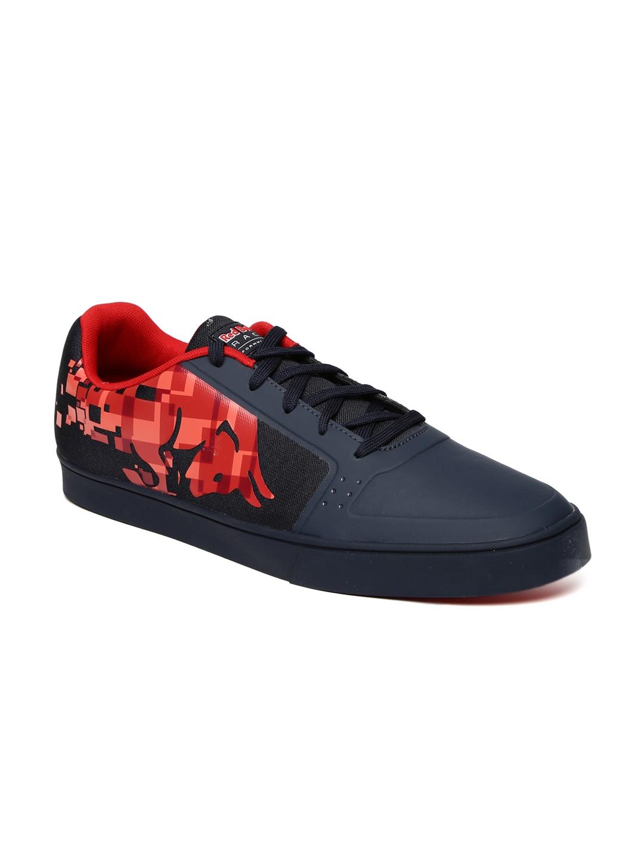 Puma Unisex Navy Blue & Red RBR Wings Vulc Bulls Printed Sneakers