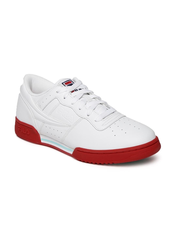22b332db58c57e Buy FILA Men White Perforated ORIGINAL FITNESS LOGO Mid Top Sneakers ...
