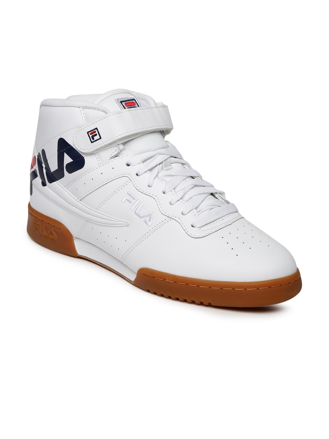 46e8af76c1a5 Buy FILA Men White Perforated F 13 LOGO Mid Top Sneakers - Casual ...