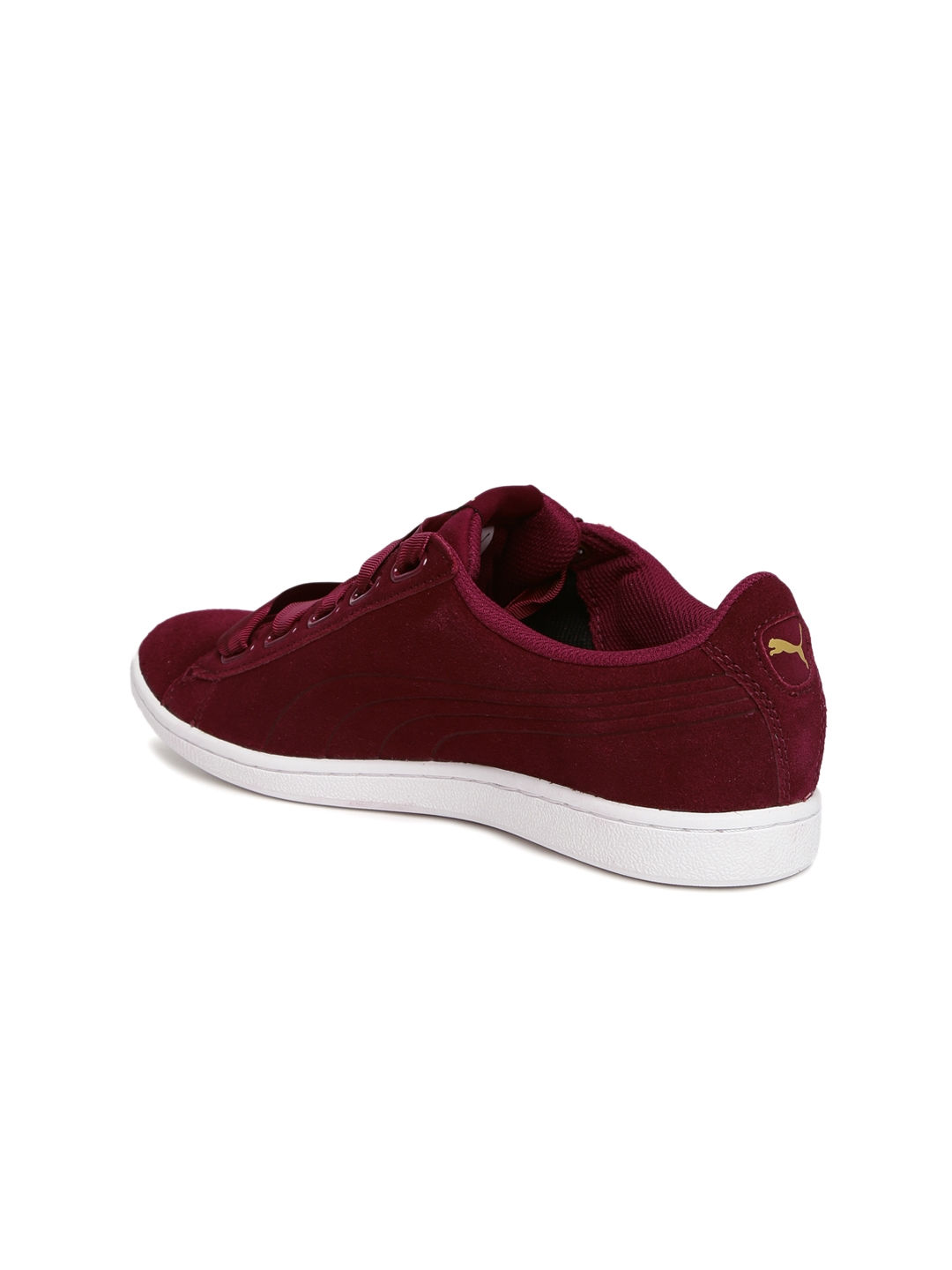 Buy Puma Women Maroon Vikky Ribbon Suede Sneakers - Casual Shoes for ... 38444ed8c
