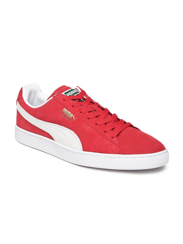 Puma Unisex Red Suede Classic+ Sneakers