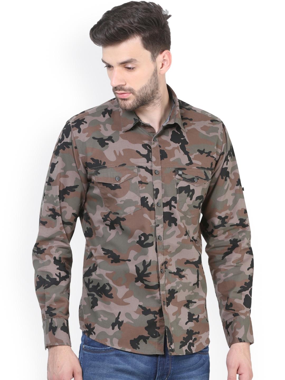 fd762927 Buy Crimsoune Club Men Brown Comfort Slim Fit Printed Casual Shirt ...