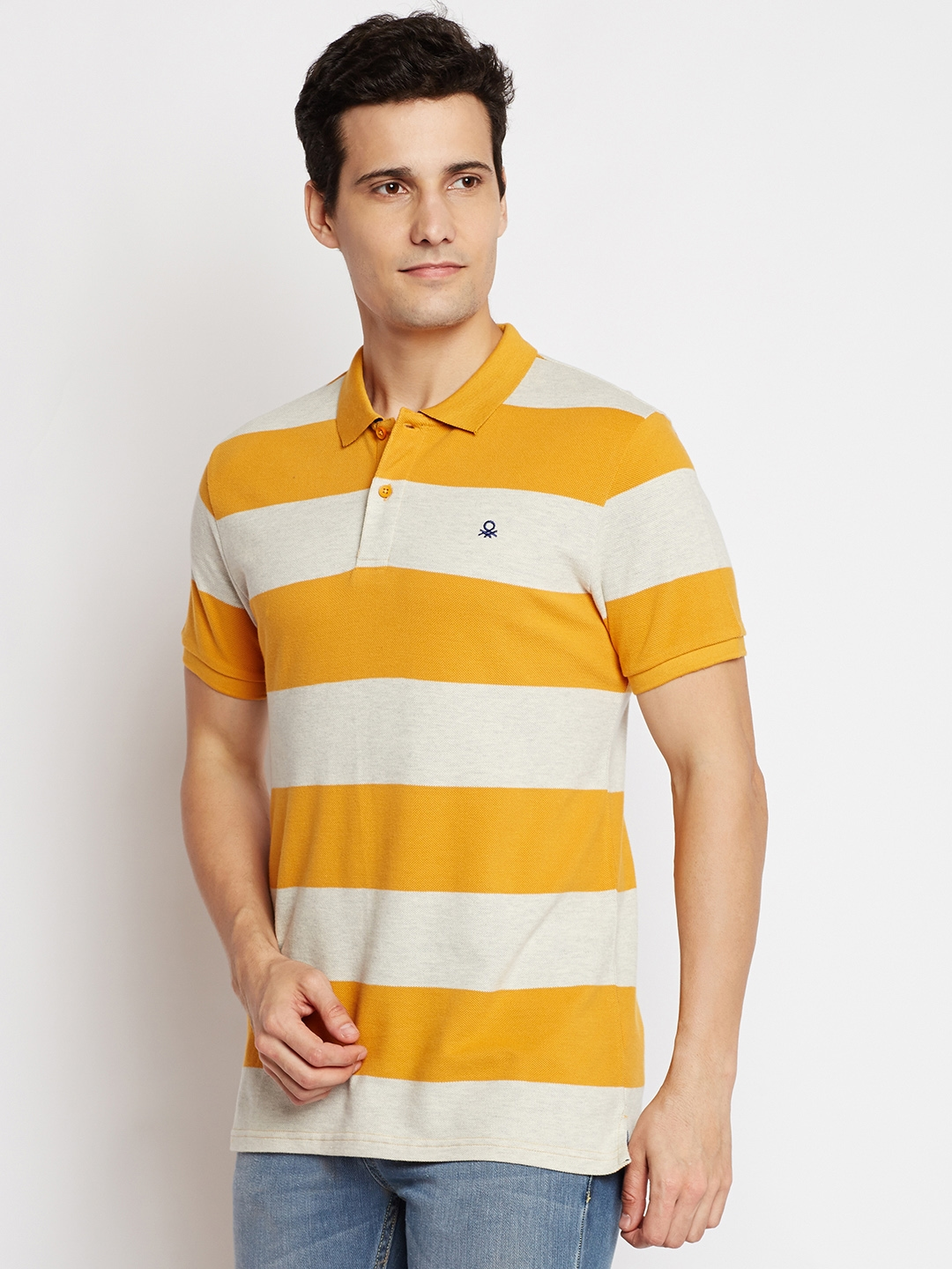 e0fecf5a93c Buy United Colors Of Benetton Men Yellow Striped Polo Collar T Shirt ...