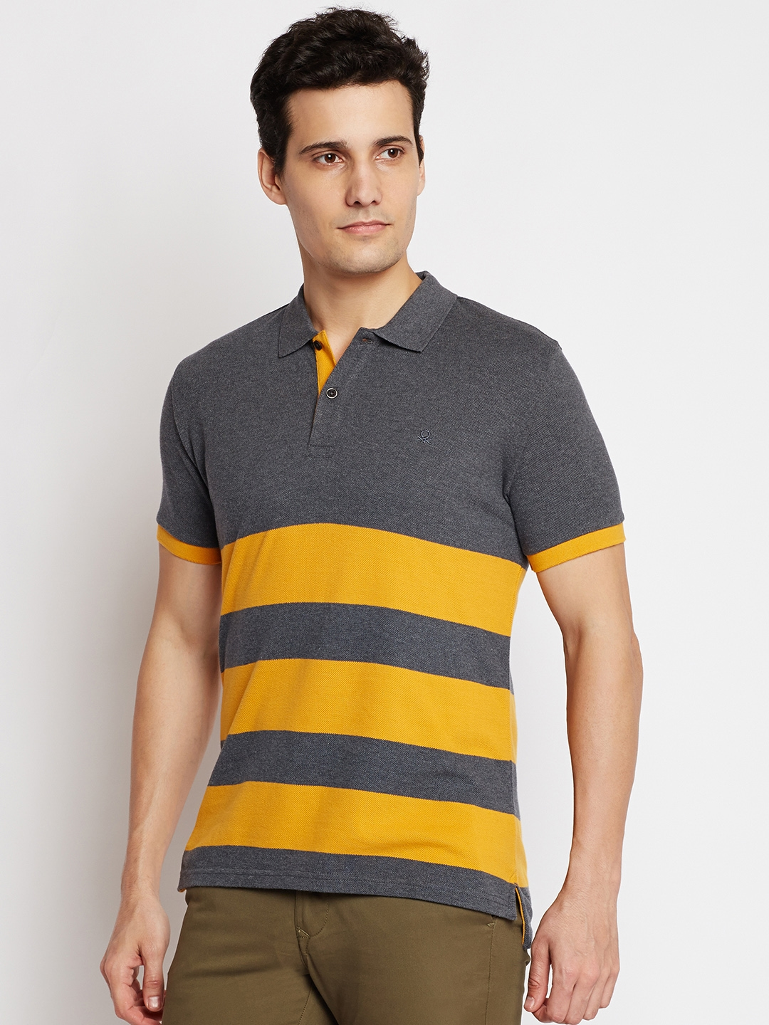 8829a00fd7b Buy United Colors Of Benetton Men Charcoal Grey   Mustard Yellow ...