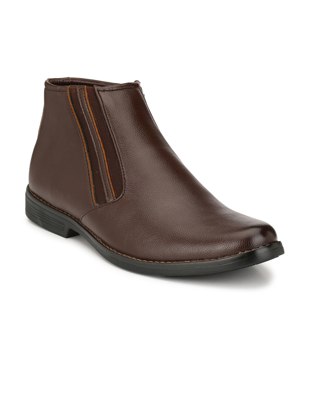 Azzaro Black Men Brown Solid High Top Flat Boots