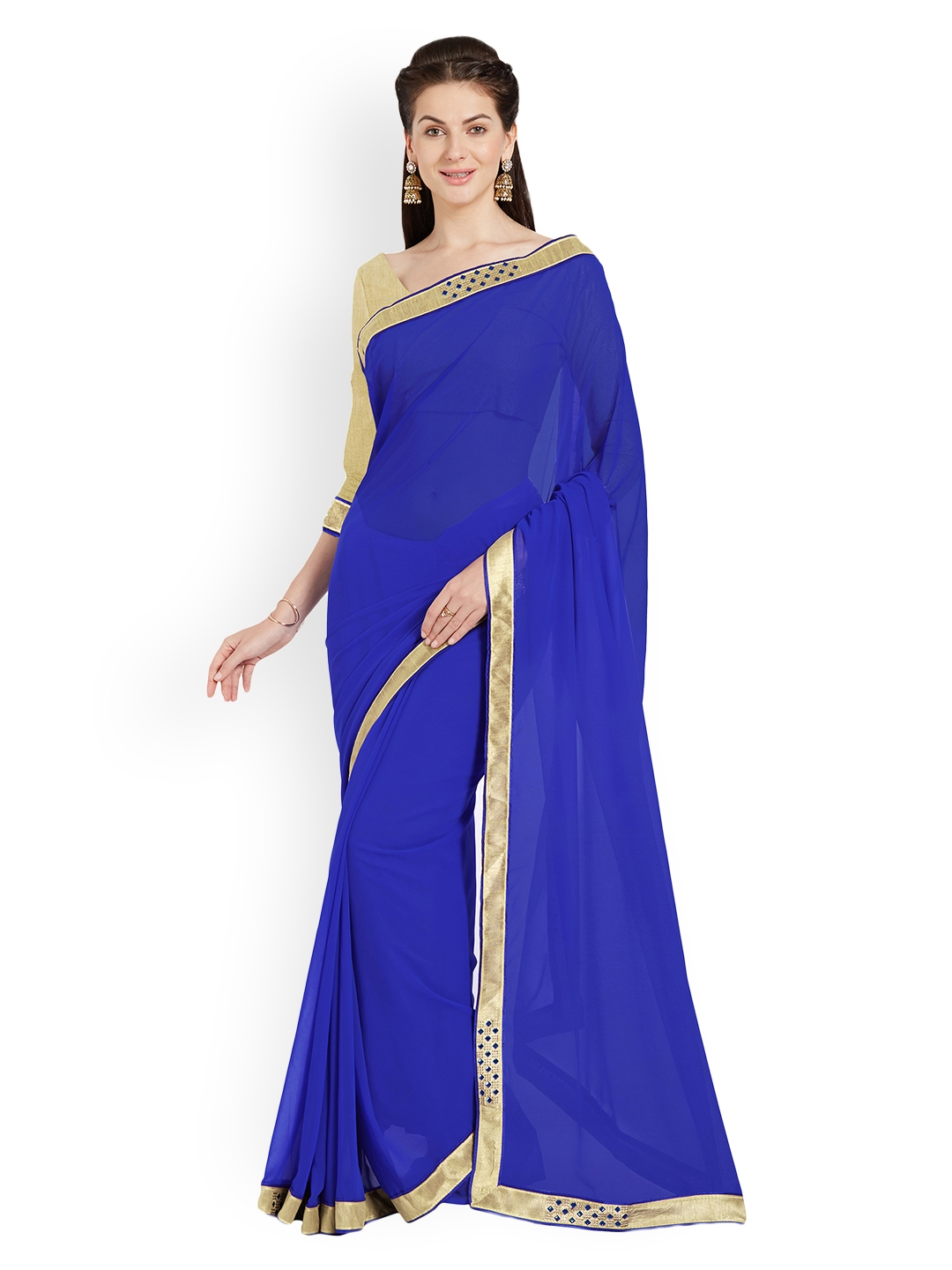 10125e5cdd887 Buy Mirchi Fashion Blue Solid Art Silk Saree - Sarees for Women ...