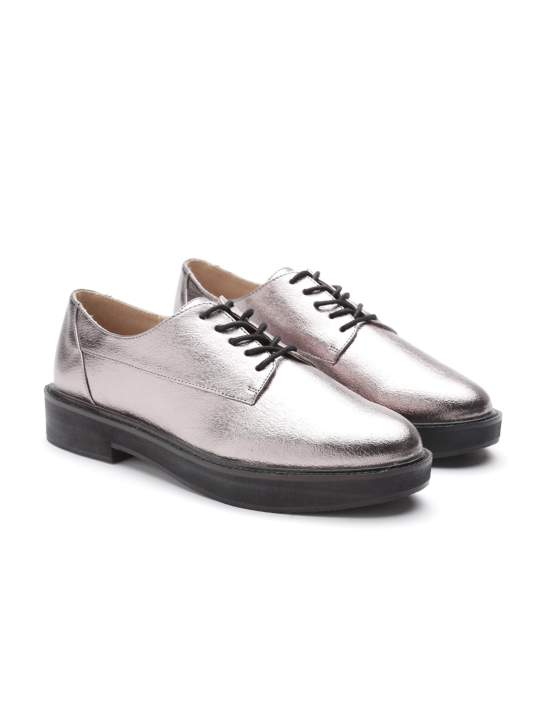 be525dee3d9 Buy MANGO Women Gunmetal Toned Derbys - Casual Shoes for Women ...