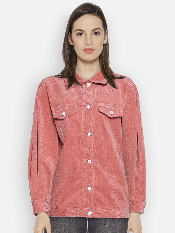 c11ad930c7e Mango Women Pink Solid Longline Corduroy Jacket Jackets For