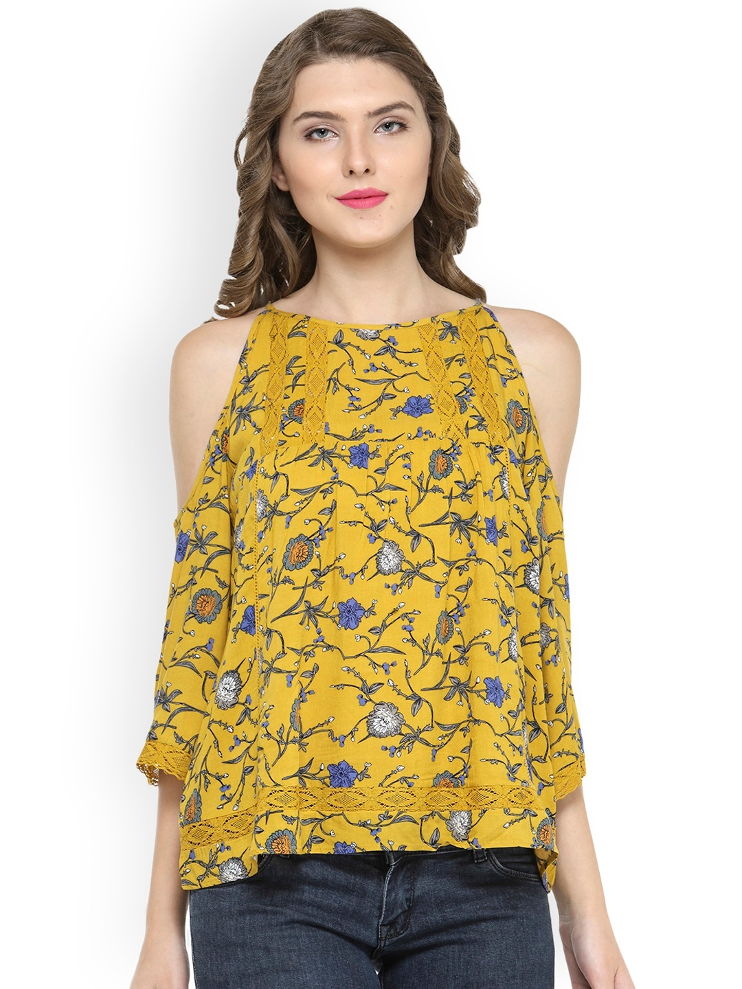 25f428d9344 Buy Gipsy Women Mustard Yellow Floral Print Cold Shoulder Top - Tops ...