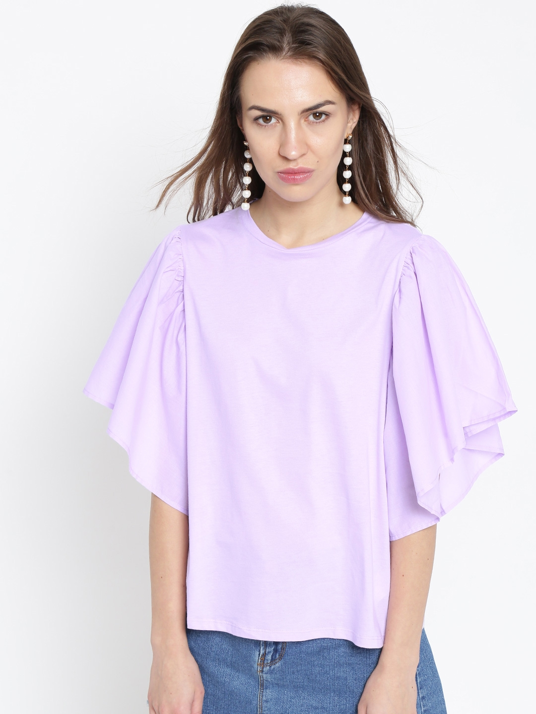 4a898c76dab72b Buy MANGO Women Lavender Solid Satin Finish Top - Tops for Women ...
