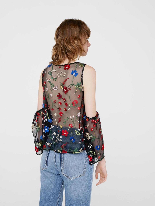 81026bd1400a0 Buy MANGO Women Black Floral Embroidered Sheer Cold Shoulder Top ...