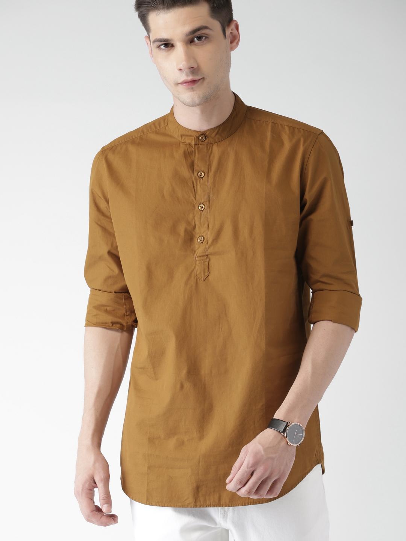 HIGHLANDER Men Brown Solid Slim Fit Solid Casual Shirt HIGHLANDER Shirts