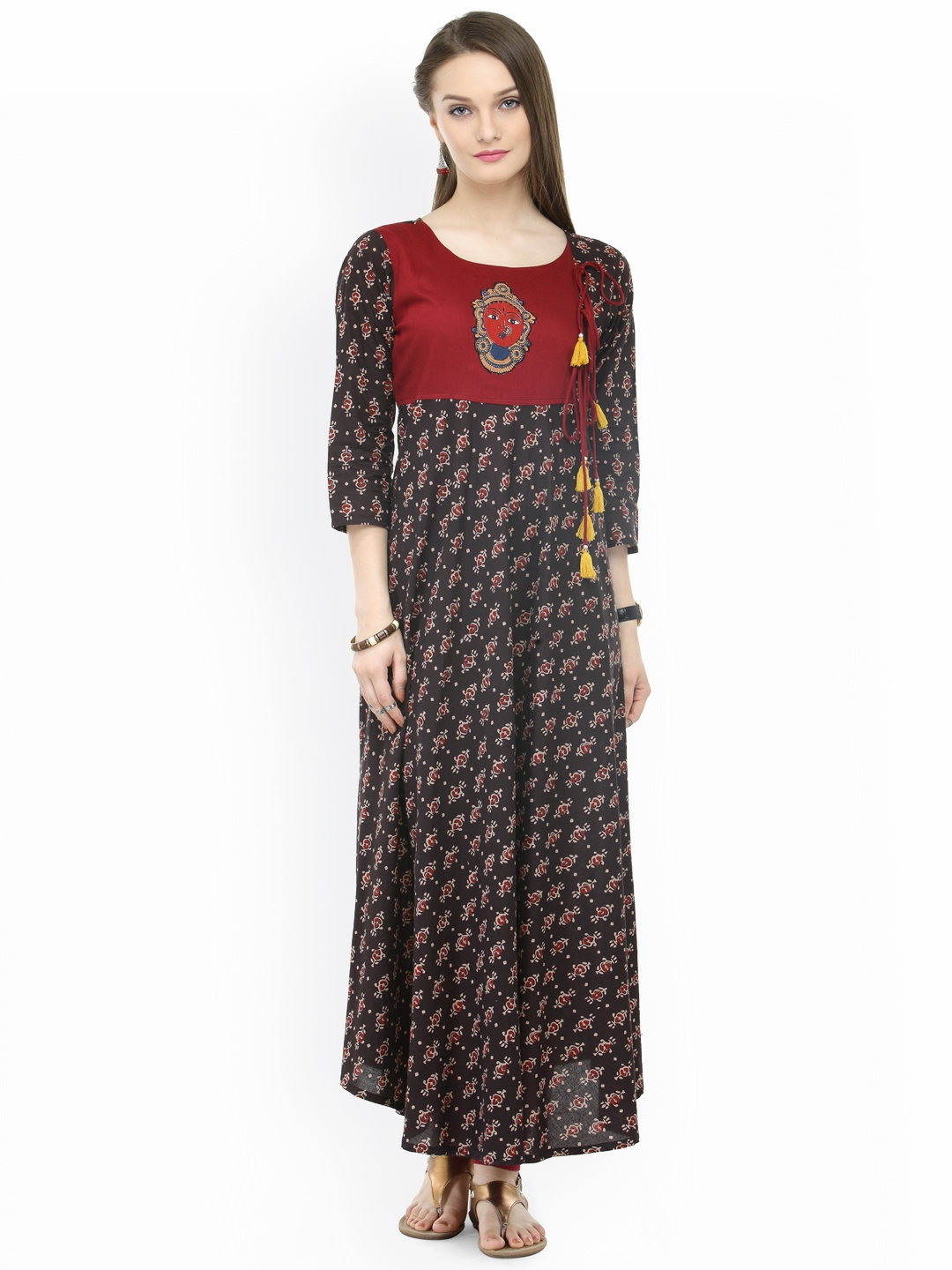 c28c1ee7e72f Buy Varanga Women Coffee Brown Printed Kaftan Maxi Dress - Dresses ...
