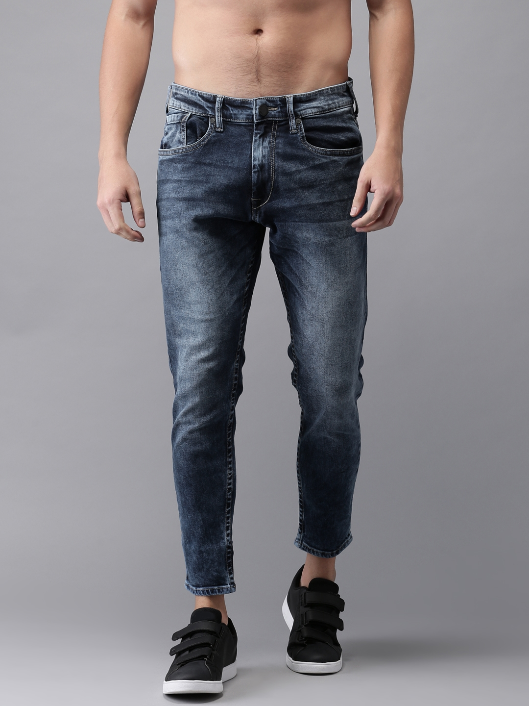 bfd91a23e Moda Rapido Men Blue Slim Tapered Fit Cropped Mid-Rise Clean Look  Stretchable Jeans