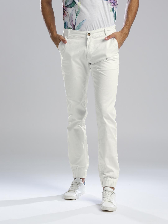 Hubberholme Men White Slim Fit Solid Joggers