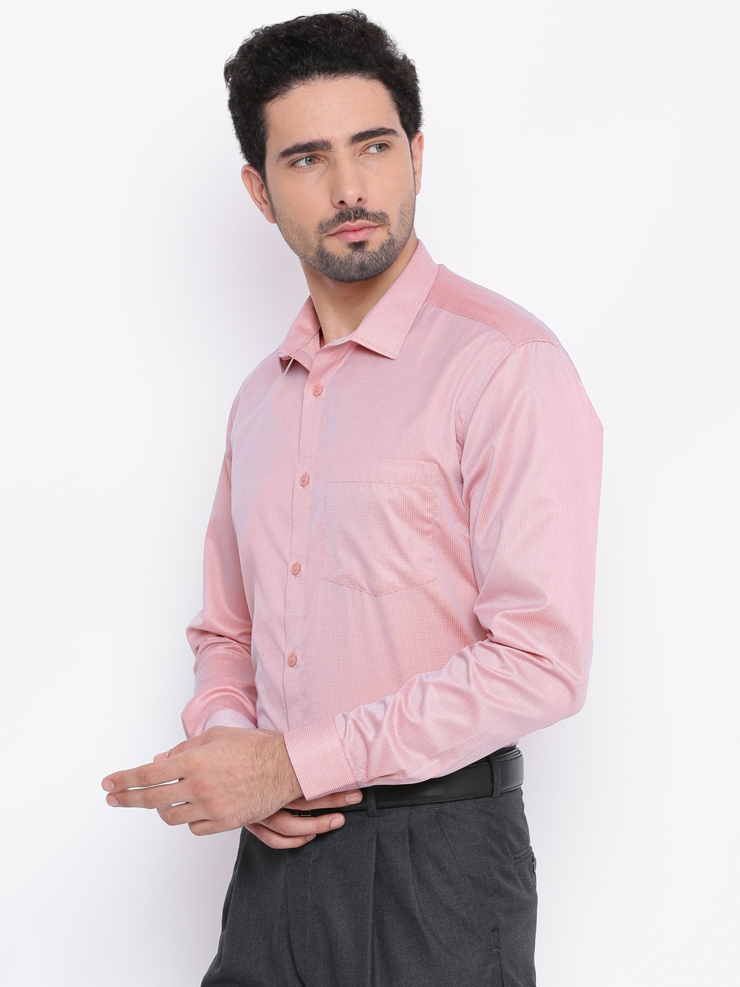 Independence Men Pink Slim Fit Self Design Formal Shirt