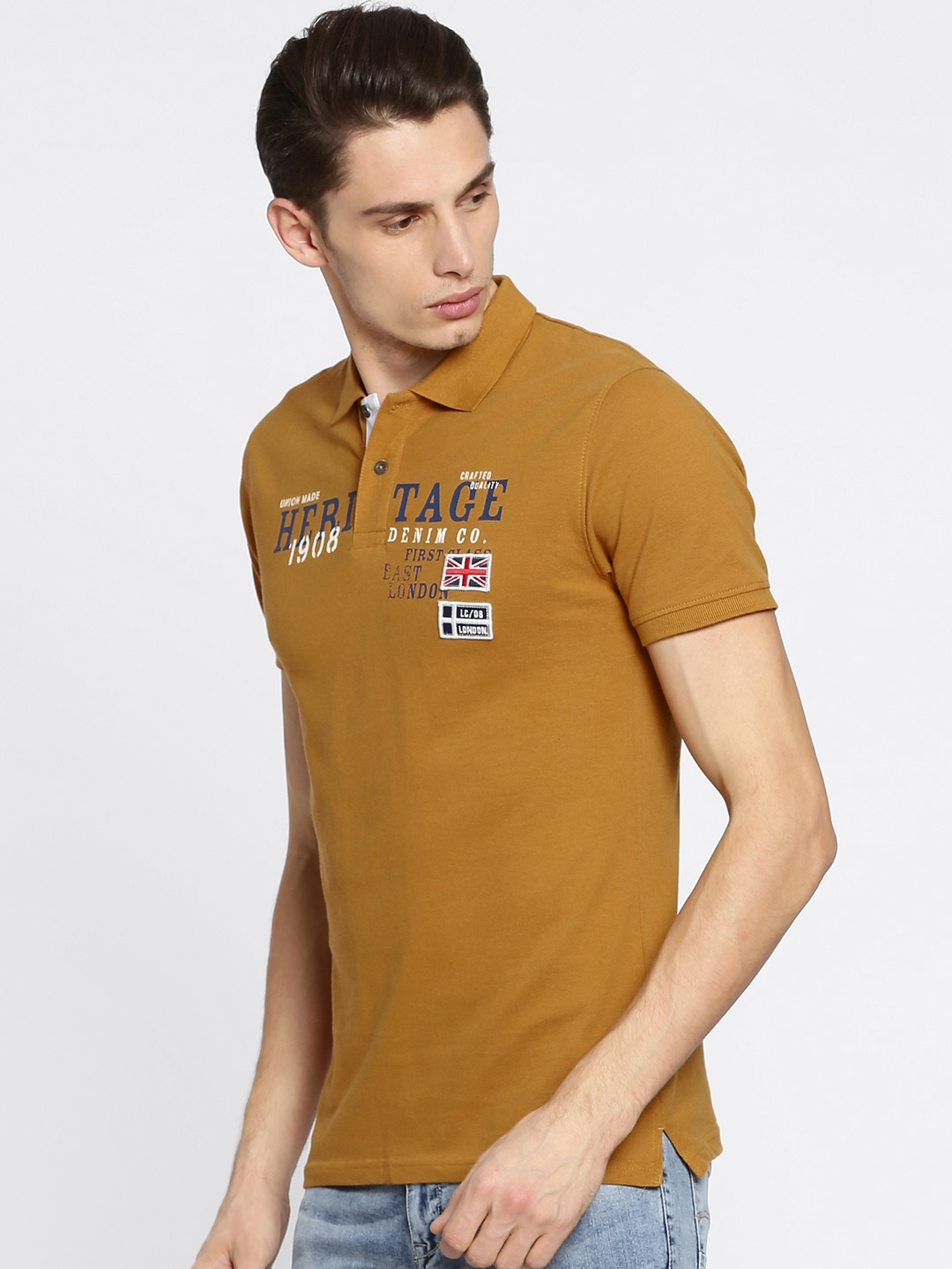 d52f5b1a7 Buy Lee Cooper Men Mustard Yellow Printed Polo T Shirt - Tshirts for ...