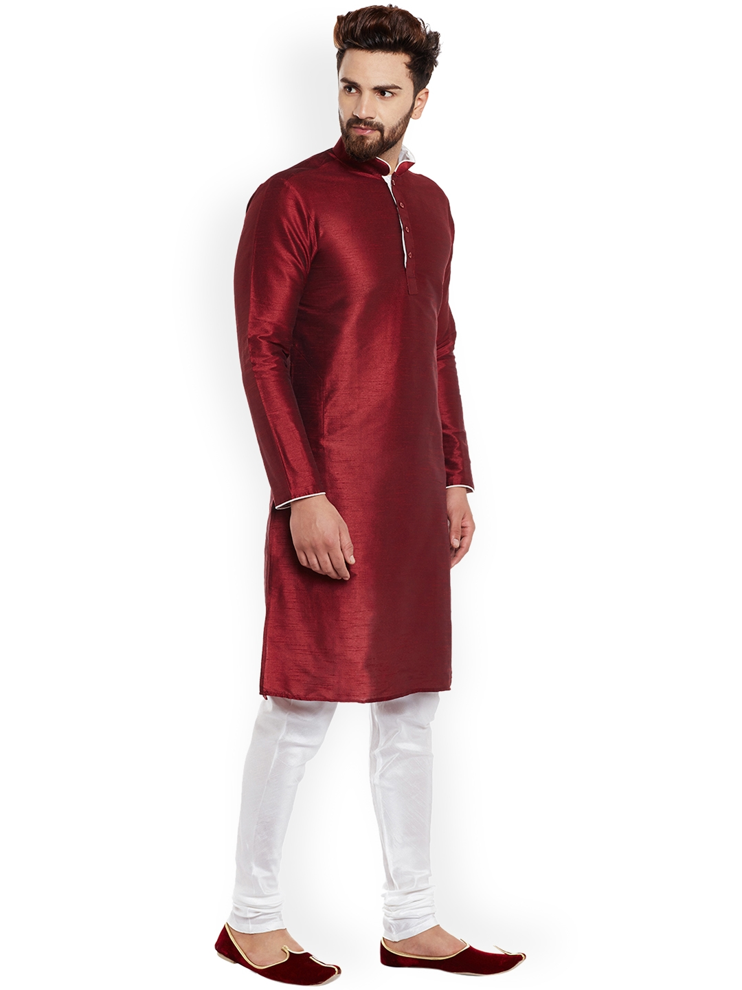 5187efaf6c Buy Larwa Men Maroon & White Solid Kurta With Churidar - Kurta Sets ...