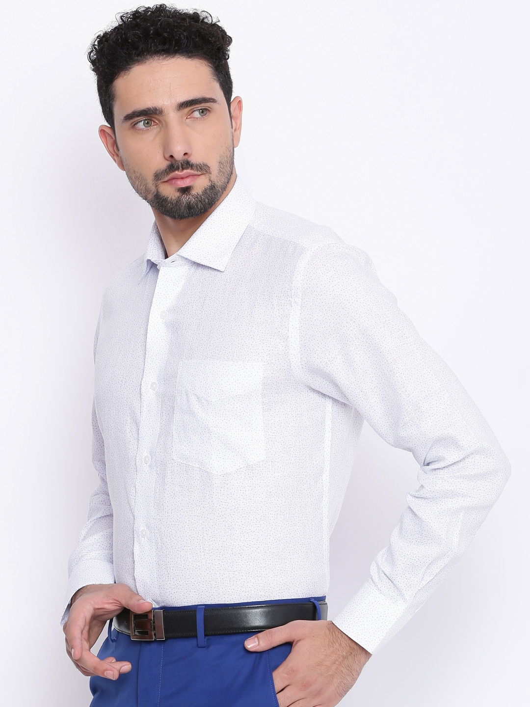 Buy Van Heusen Men White Slim Fit Printed Formal Shirt Shirts For