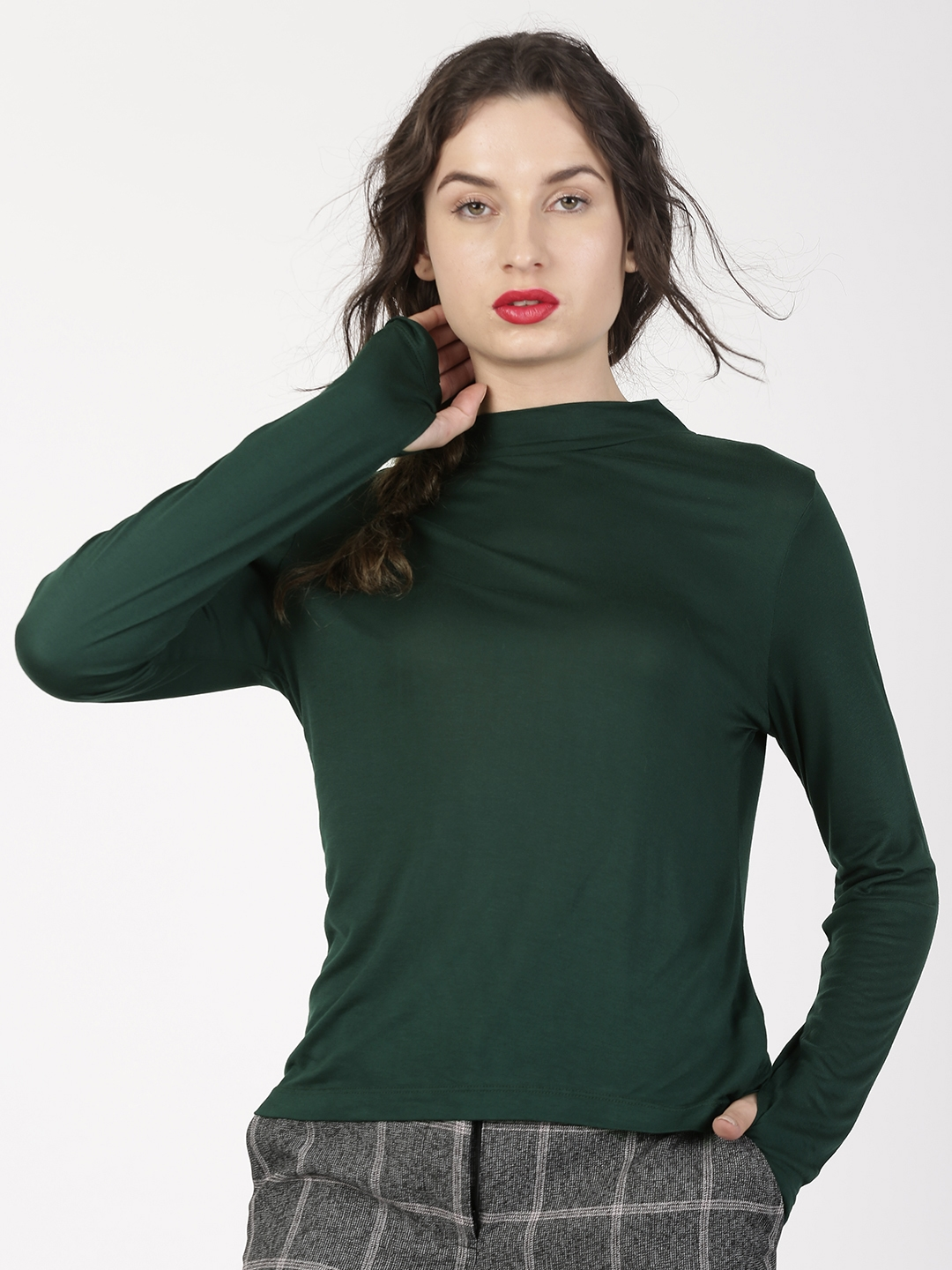 46929fa8643997 ether Women Green Solid High Neck Long Sleeve With Thumbhole Round Neck  T-shirt