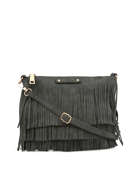 c872cb0f575 Buy PEPGIRLS Grey Solid Fringed Sling Bag - Handbags for Women ...